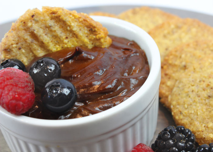 Chocolate Avocado Mousse with Hazelnut Crisps and Berries