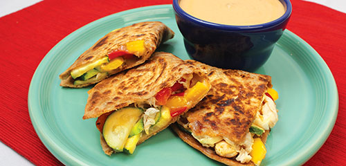 Quesadillas with Red Pepper Dip