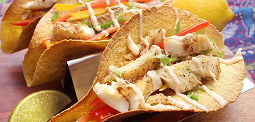 Fish Tacos with Spicy Peppers, Tomato & Corn