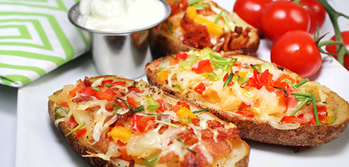 Potato Skins Stuffed with Peppers & Tomatoes